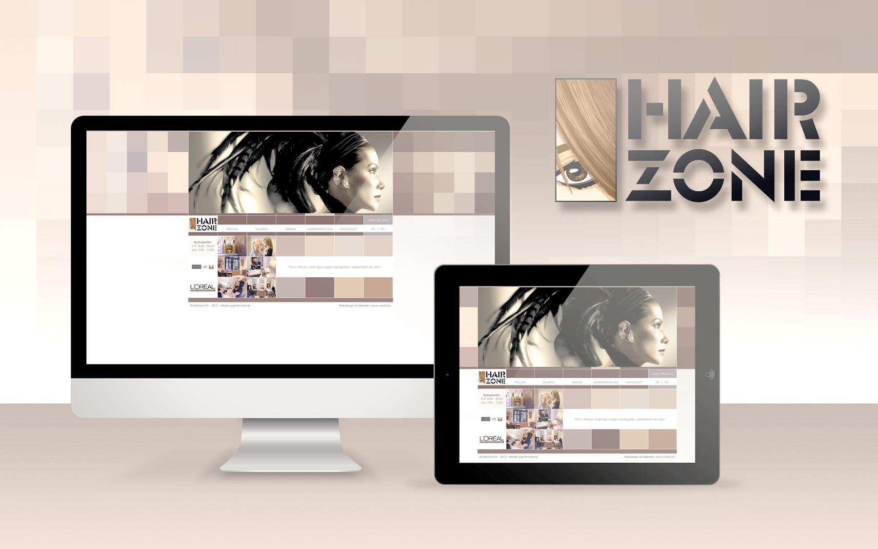 Brand oldal fejlesztés hairzone s j creative group